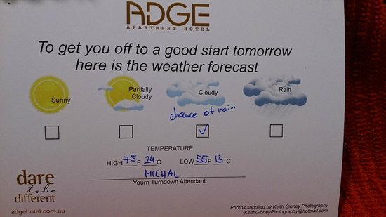 ADGE Apartment Hotel: Weather forecast card (shame about the spelling mistake!)