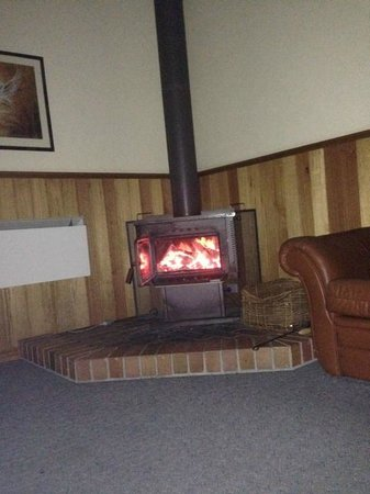 Grampians View Cottages & Units: Lounge Room, generous supply of wood at front door.