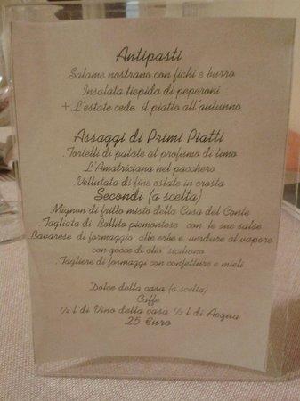 Romano Canavese, Italie : menu