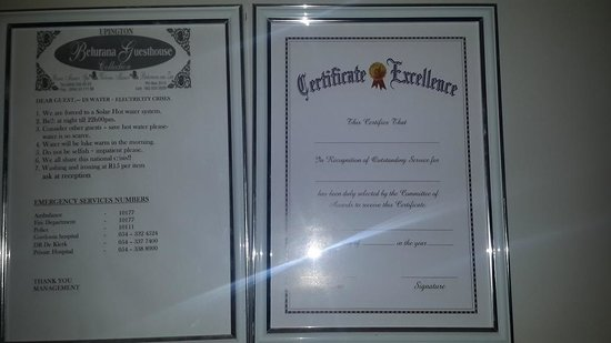@Belurana River Manor: Bossy instructions and blank certificate of excellence