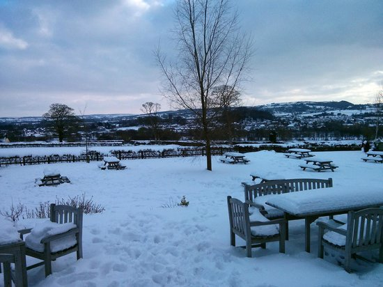 Snowy view from Glasfryn front door