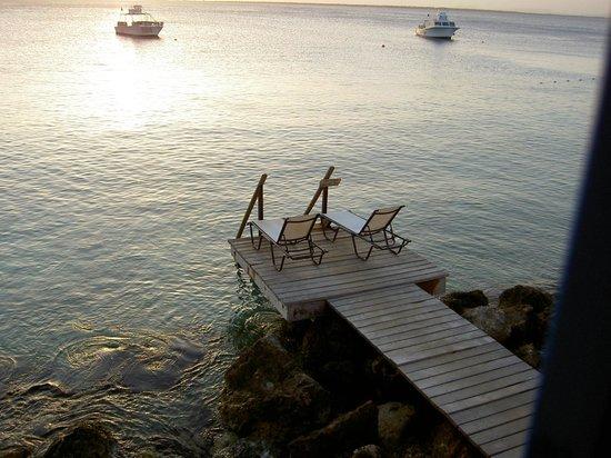 Divi Flamingo Beach Resort and Casino : Blick von der Terrasse auf den Einstieg ins Meer
