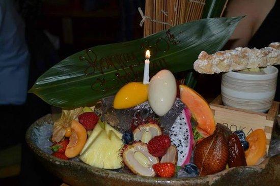 ROKA Charlotte Street: Desert from the Premium Tasting Menu...the amazing chocolate torte was hidden behind the banana