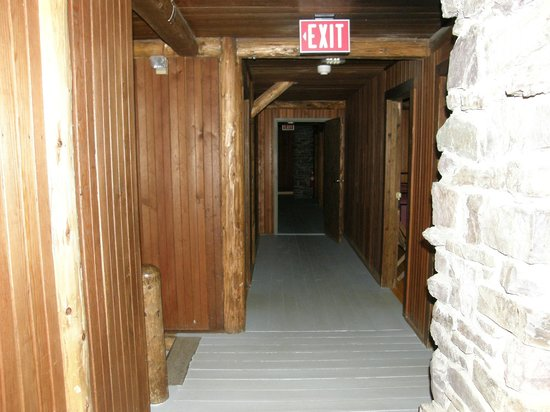 Sperry Chalet: Hallway in the bunkhouse, dark & sound travels