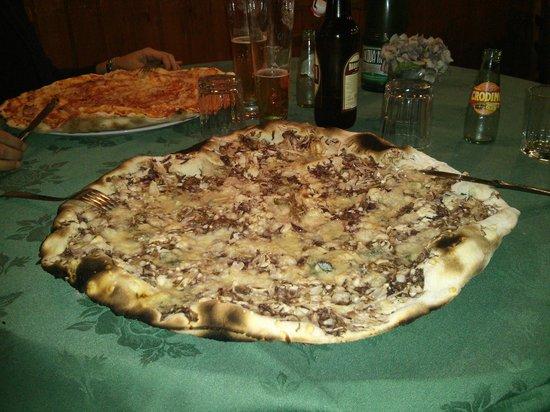 La Vecchia Quercia : Le mega pizze (nella foto radicchio e gorgonzola, amatriciana)