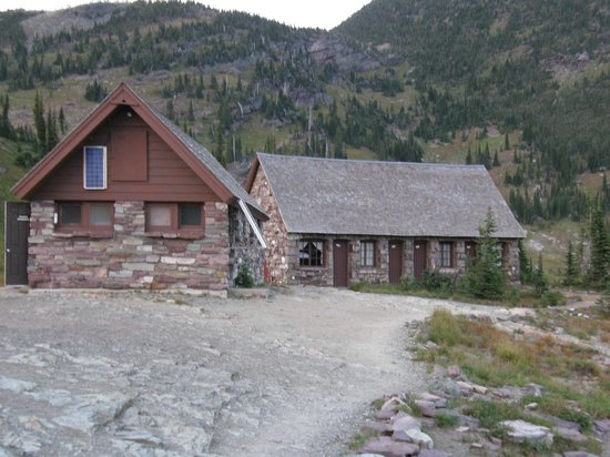 Granite Park Chalet: Chalet lodging outbuildings