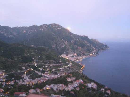 Hotel Palumbo Palazzo Confalone: Moon rise over Ravello--view from our terrace