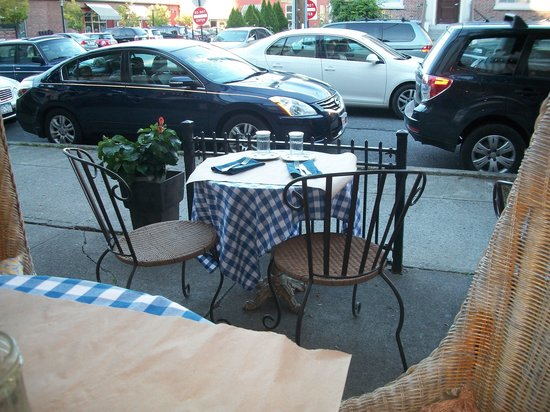 Liberty: The blue gingham table in front of ours.