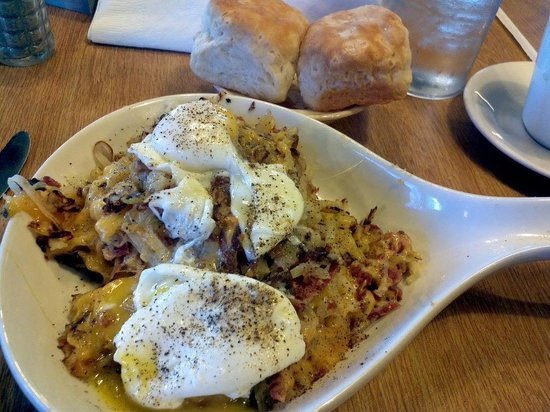 Apple Barrell Family Restaurant: Corned Beef Hash Skillet with Poached Eggs & Biscuits