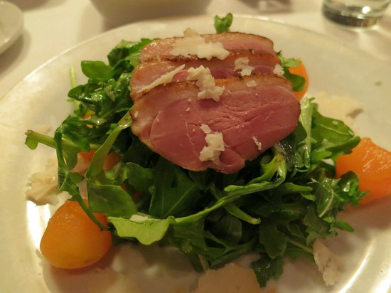 Tinderbox Kitchen: Smoked duck breast with arugula, melon and goat cheese