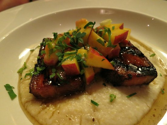 Tinderbox Kitchen : Pork belly on blue cheese grits