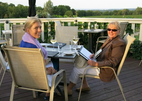 Vineland Estates Winery Restaurant: Sampling the estate wines and the view