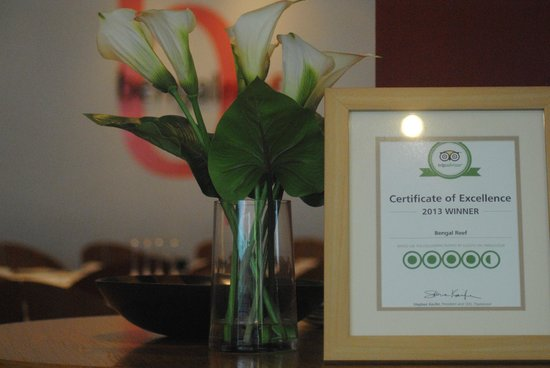 Bengal Reef: Trip Advisor award for excellence