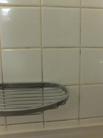 Leonardo Hotel Weimar: Schmutzige Fliesenfugen im Bad