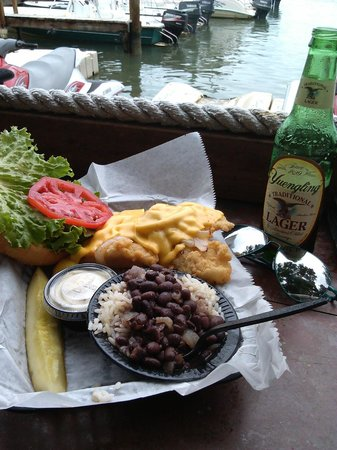 Hungry Tarpon : Grouper Sandwich (fried) w/ Black beans and rice