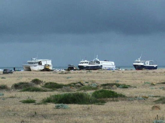 The Pilot Inn: Dungeness, boats pulled up on the shingle.