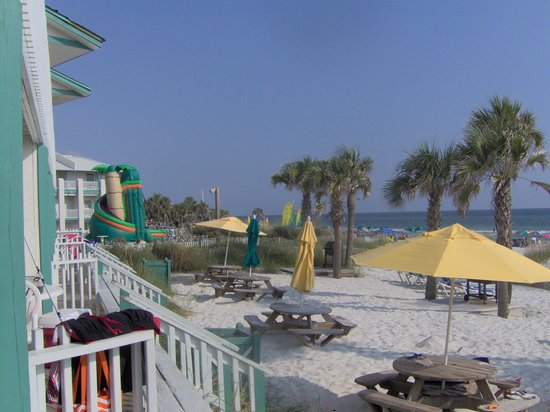 The Sandpiper Beacon Beach Resort: Inflatable slide, view from room