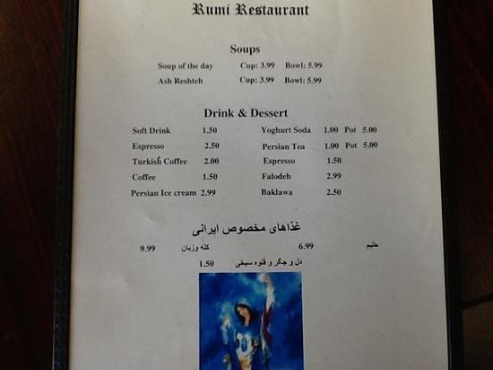 Rumi Restaurant: menu side 2