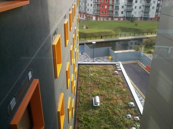 Premier Inn Walsall Town Centre Hotel: canal and new building complex, viewed from the bridge