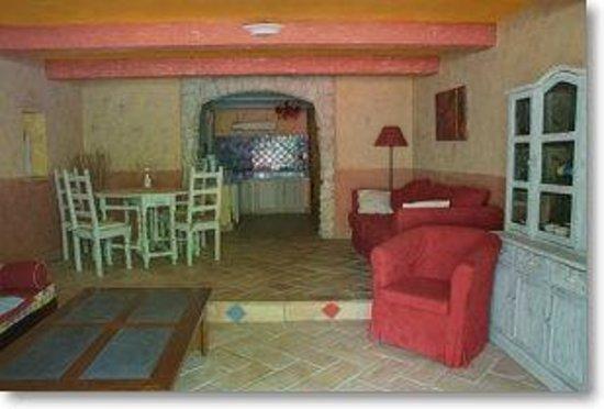 Le Mas de la Fontanelle: Provençal apartment - living room and open kitchen