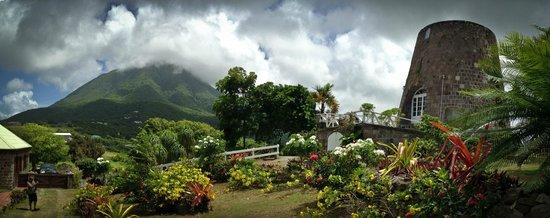 Eva Wilkin Galleria at Gingerland: Nevis Peak and Sugar Mill at Eva Wilken Gallery