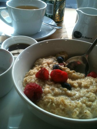 Olive and Bean : Soy porridge with fresh berries and Teapigs chai :)