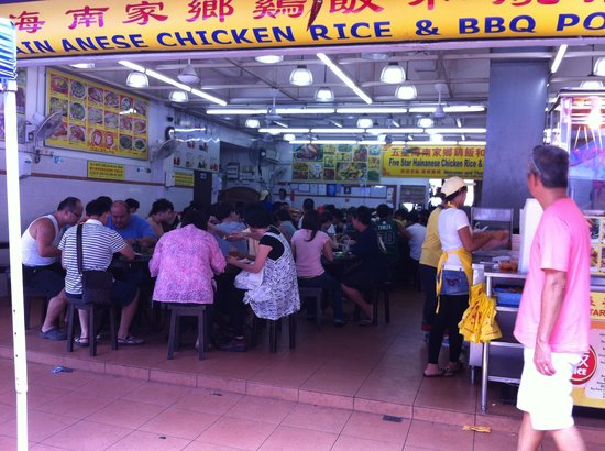 5 Star Hainanese Chicken Rice & BBQ Pork: Lunch hour crowd