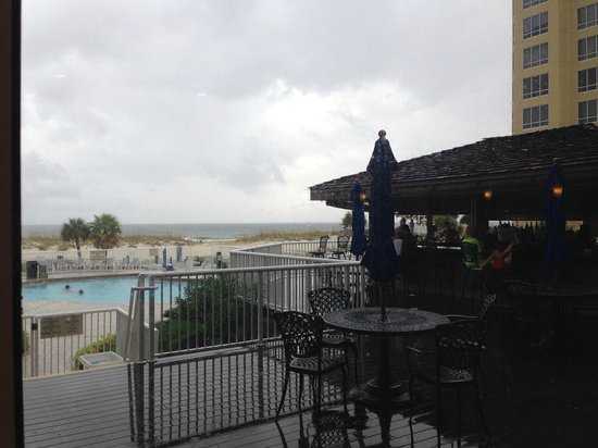 SpringHill Suites by Marriott Pensacola Beach: View from breakfast area, looking out towards pool/beach