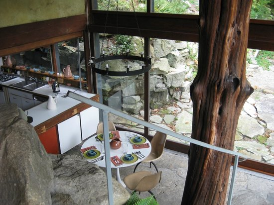 Manitoga / The Russel Wright Design Center : interior from living room level down into kitchen