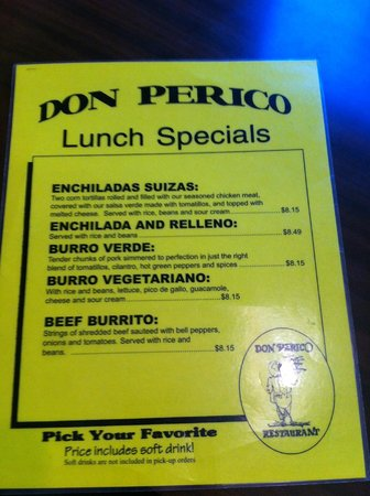 Don Perico: Menu Lunch Special