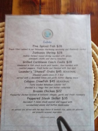 Front Porch : menu