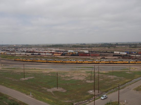 Golden Spike Tower and Visitor Center: Looking out on the rail yard