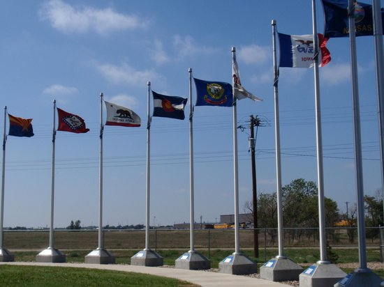 Golden Spike Tower and Visitor Center: Flag courtyard