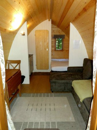 West Stow Pods: Outside in of the pod