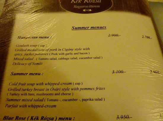 Kék Rózsa Restaurant: Menù