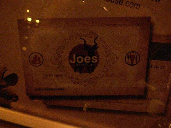 Joe's Beer House : Cartão de visitas