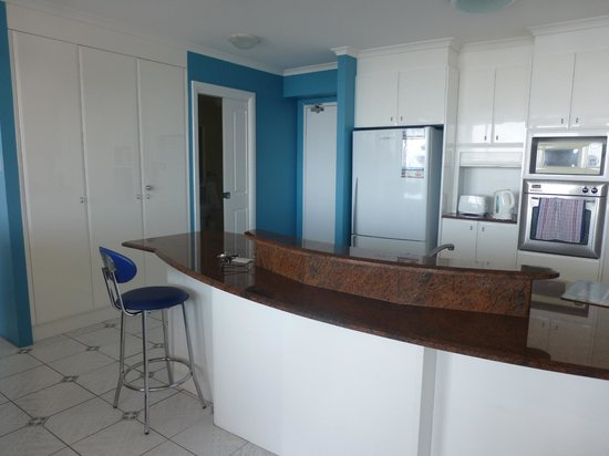Beaches International: well equipped, spotless kitchen