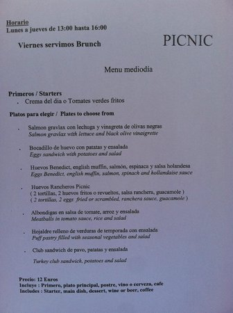 Picnic Restaurant: menu
