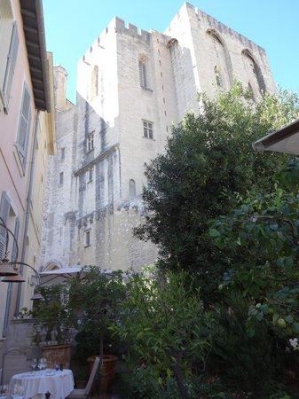 La Mirande Hotel: Palais des papes and tree in garden