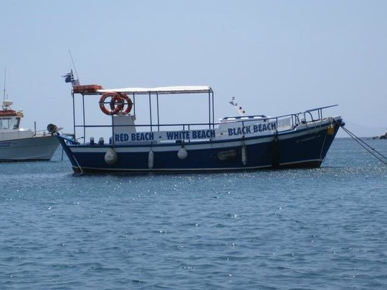 Villa Manos: Boat that takes you to Red Beach, White Beach & the Black beach