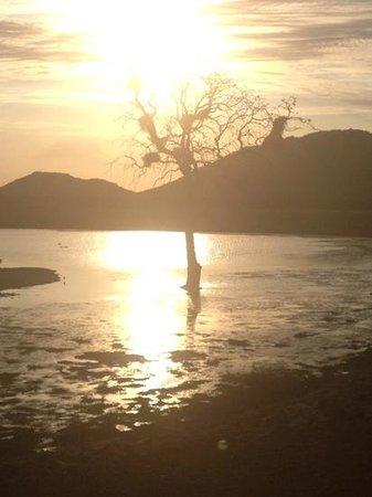 Etali Safari Lodge: Sunset at the dam.