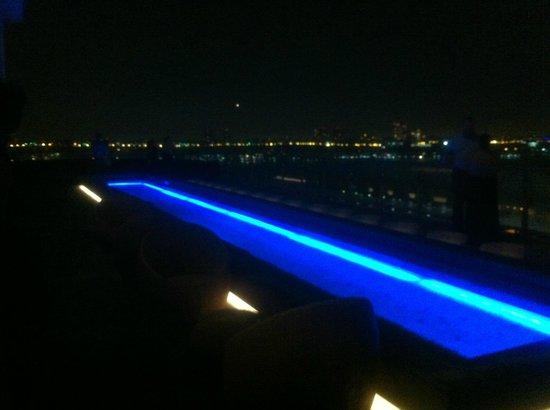 reflecting pool at rooftop bar