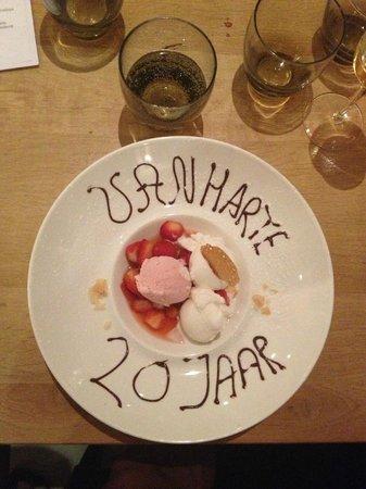Le mirage: bij het dessert kregen we heel attent felicitaties...
