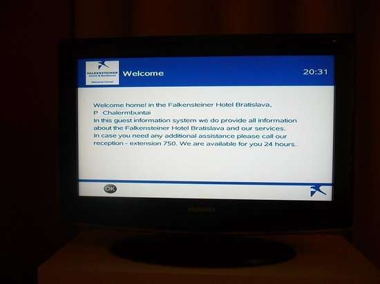 Falkensteiner Hotel Bratislava : A personalized welcome on TV screen