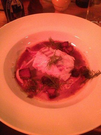 Bockholmen Hav & Restaurang: pesce con pezzetti di pancetta affumicata