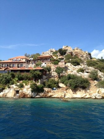 Kas Daily Boat Tours with Bermuda : View of Simena Ruins at Kekova from Bermuda Boat Tour