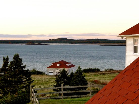 West Quoddy Head Station: Stunning views from the outside deck accross the water to the town of Lubec