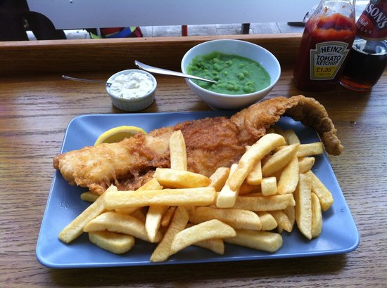 Large cod chips and mushy peas picture of baileys fish for London fish and chips
