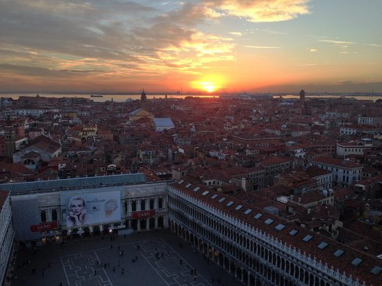 Campanile di San Marco: Looking out over St. Mark's from Campanile at Sunset