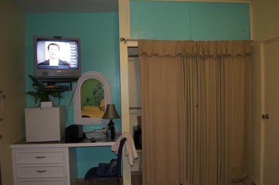 Lazy Parrot Inn: Closet door was an old curtain